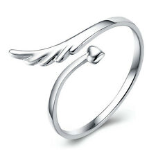 Cute Angel Wing Heart Opening Adjustable Man/ Women's Ring Silver Plated Jewelry
