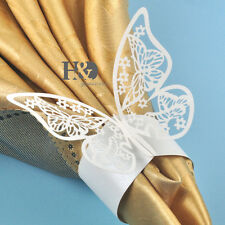 48pcs Ivory Laser Cut Butterfly Favour Napkin Rings Holders Wedding Party Dinner