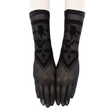Restyle Gothic Rose Witch Gothic Black Mesh & Velvet Long Wrist Gloves