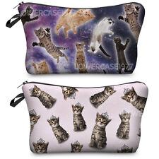 set of 2 cute cat makeup bags, zip closure, kawaii,