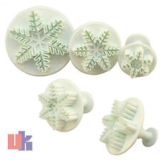New 3X Cake Decorating Baking Icing Set Tool Sugarcraft Snowflake Cutter Plunger