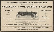 Y7259 Cyclecar et Voiturette SALMSON - Pubblicità d'epoca - 1924 Old advertising