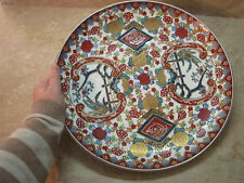 "Old Chinese Platter TOBACCO LEAF Famille Rose MEDALLION PEACHES 14"" Porcelain"