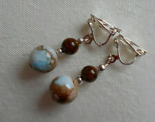 Hand made mottled glass brown and blue clip on earrings silver plated unique