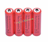 4x AA 2A 3000mAh 1.2V Ni-Mh Red Color Rechargeable Battery for RC MP3 Camera