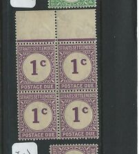 MALAYA STRAITS SETTLEMENTS (PP0710B) POSTAGE DUE 1C   SG D1 BL OF 4    MNH