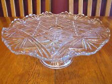 Stunning EAPG Antique McKee Glass Teutonic Cake Plate Stand ~Diamond Fan Finecut