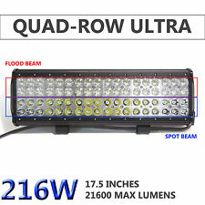 17Inch 216W Led Spot Flood Combo Beam Quad Rows Work Light Bar Offroad 4WD