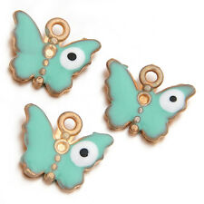 100pcs Wholesale Charms Green Enamel Golden Tone Butterfly Zinc Alloy Pendant LC