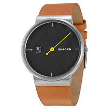 Skagen Ancher Grey Sandblast Dial Tan Leather Mens Watch SKW6194