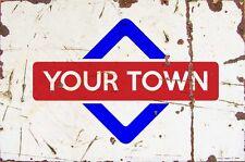 Sign Porthleven Aluminium A4 Train Station Aged Reto Vintage Effect