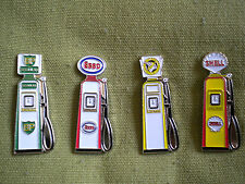 SET OF 4 PETROL PUMP PIN BADGES, BP, ESSO, NATIONAL BENZOLE & SHELL