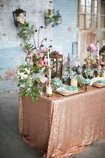 "6ft Table 90""x132"" Rose Gold Sparkly Sequin Tablecloth for Wedding"