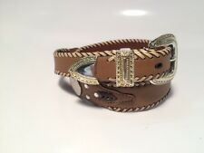 Womens Brown Leather Concho Rhineston Belt Western Braided Cowgirl Large L
