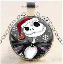 Nightmare Before Christma Jack Cabochon Glass Tibet Silver Chain Necklace#AV29