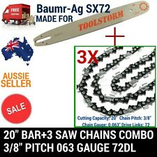 "20"" BAR AND 3 CHAINS COMBO SPROCKET NOSE FOR BAUMR-AG SX72 NEW 3/8 72DL .63"" SAW"