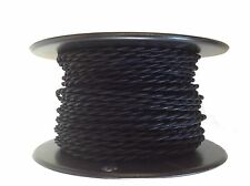 Black Twisted Rayon Covered Wire, Antique Style Cloth Lamp Cord, Vintage Lights