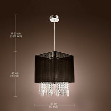 HI5 Black Shade Flush Mount Crystal Chandelier Pendant Ceiling Light Fixture