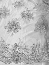 "WHITE MESH EMBROIDERY PEARL BEADS SEQUINS BRIDAL LACE FABRIC 52"" WIDE 1 YD"