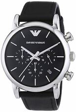 Emporio Armani Mens Chronograph Watch Black Dial Strap AR1733