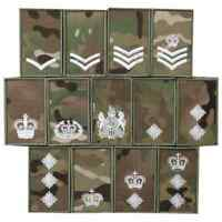 BRITISH ARMY MULTICAM UBACS SHIRTS VELCRO BACKED RANK PATCHES