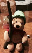 "THE DISNEY STORE MBBP - FISHING POOH 8"" - BEANIE  MINI BEAN BAG PLUSH - HAT POLE"