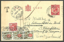 1D GEORGE V POST CARD 5 X3 15 SWITZERLAND POSTAGE DUES APPLIED RHEINFELDEN 1939