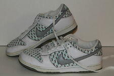 Nike Dunk Low Casual Sneakers, #309324-101,Wht/Gry/Pale Teal, Womens US 8