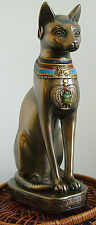 Egyptian Cat Goddess Bast Bastet Statue Colored Necklace Bronze Resin #1116