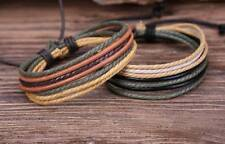 G109  Lot 2pc Surfer Casual Hemp Leather Bangle Bracelet Cuff Mens Multi Bands
