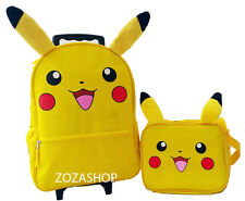 "Pokemon 16"" Large Roller Backpack & Lunch Bag 2pc Set New YELLOW"