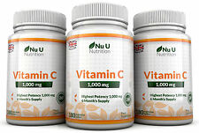 Vitamin C 1000mg Nu U 3 flaschen Super Stark 540 Tabletten 100% Garantie