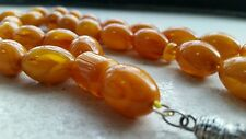 ANTIQUE AMBER BAKELIT KEHRIBAR FATURAN CATALIN PRAYER BEADS