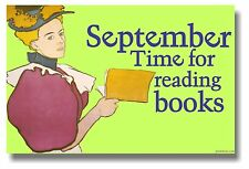 September Time for Reading Books Library School  Classroom Library POSTER