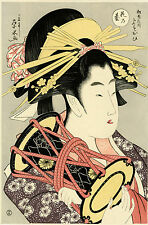 "Rare, Lovely EISUI Japanese woodblock print ""THE COURTESAN YOSOOI OF MATASUBAYA"""