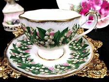 QUEEN ANNE TEA CUP AND SAUCER LILY OF THE VALLEY PATTERN TEACUP GOLD GILT