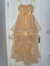 Party Wedding Birthday Prom Formal Pageant Hi Lo Ruffle Net Nude Dress Size 10
