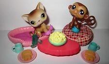 Littlest Pet Shop RARE 2006 TV NIGHT Calico Cat #19, Monkey #57 W/ accessories