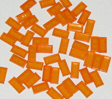 Lego Lot of 50 New Trans-Orange Tiles 1 x 2 with Groove Flat Smooth Pieces
