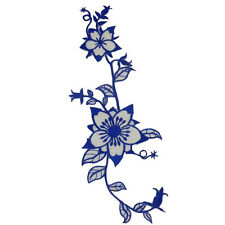 19616 Embroidered Cloth Iron on Patch Sew Motif Blue Flower Sequin Appliques
