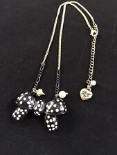 Betsey Johnson Necklace Bow Tie Polka Dot Faux Pearl Lolita Rockabilly 9""