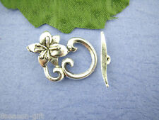 20Sets Silver Tone Floral Toggle Clasp 16x25mm