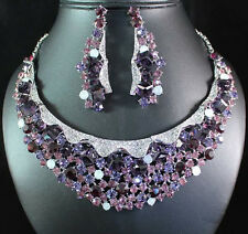 CUBES VIOLET AUSTRIAN RHINESTONE BIB NECKLACE EARRINGS SET BRIDAL PROM N1676V