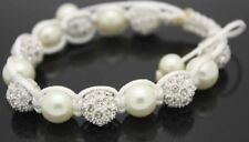 Macrame Beaded Adjustable Bracelet with White Clear Crystal Beads and pearls