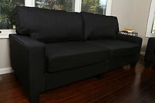 """BLACK Fabric Sofa Couch Love Seat College Dorm Apartment Living Room Modern 73"""""""