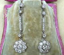 Fabulous 18ct white gold art deco 4.36ct Diamond daisy drop earrings wow