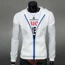 Mens Boys Fashion Zip Up Hoodies Hooded Color Coat Thin Jacket Sweatshirt Shirt