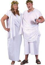 Femmes ou Hommes XL Grande Taille Blanc Toge Romaine Fête Costume Déguisement