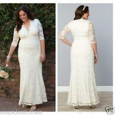 A-Line New 3//4 Sleeve V Neck Lace Wedding Dress Bridal Gown Plus Size Custom