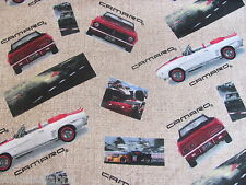 CAMARO RACE CARS FLANNEL GENERAL MOTORS CONVERTABLE on COTTON Priced By The Yard